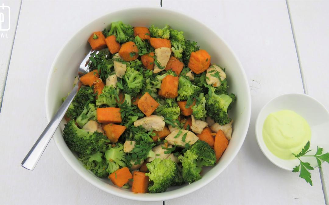 Kip met broccoli en zoete aardappel